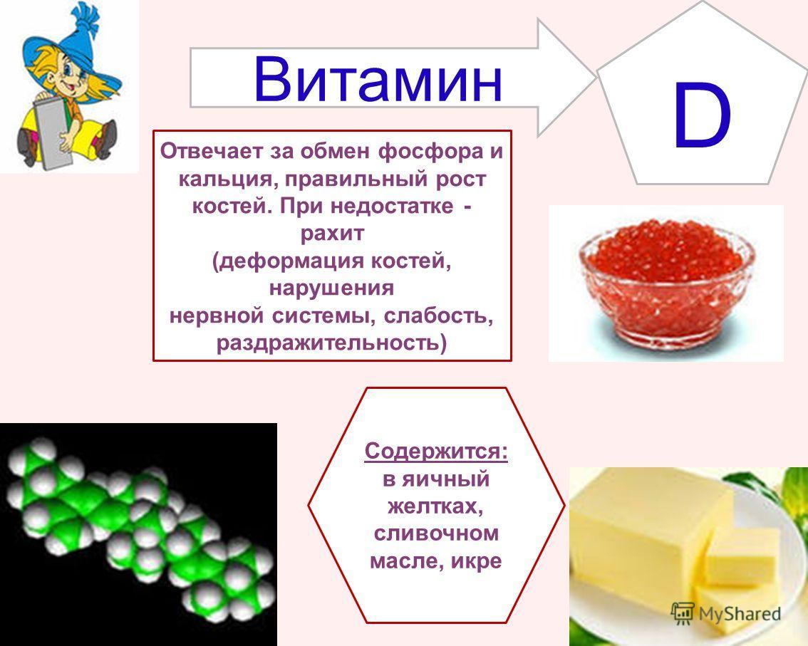 Витамин D Содержится: в яичный желтках, сливочном масле, икре Отвечает за обмен фосфора и кальция, правильный рост костей. При недостатке - рахит (деформация костей, нарушения нервной системы, слабость, раздражительность)