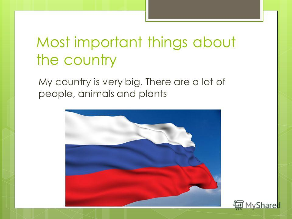Most important things about the country My country is very big. There are a lot of people, animals and plants