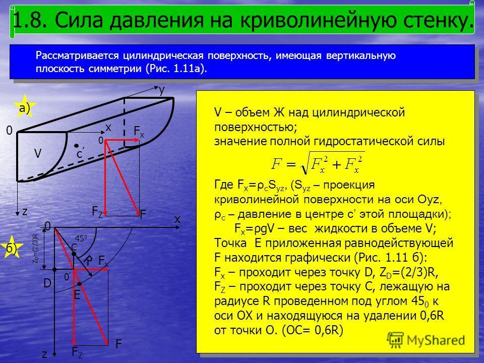 Рассматривается цилиндрическая поверхность, имеющая вертикальную плоскость симметрии (Рис. 1.11а). 1.8. Сила давления на криволинейную стенку. V – объем Ж над цилиндрической поверхностью; значение полной гидростатической силы Где F x = ρ c S yz, (S y