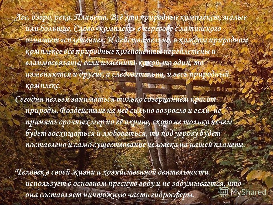 Лес, озеро, река. Планета. Всё это природные комплексы, малые или большие. Слово «комплекс» в переводе с латинского означает «сплетение». И действительно, в каждом природном комплексе все природные компоненты переплетены и взаимосвязаны; если изменит