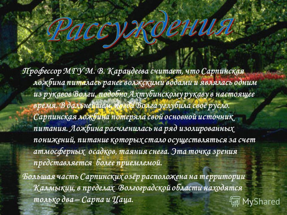 Профессор МГУ М. В. Карандеева считает, что Сарпинская ложбина питалась ранее волжскими водами и являлась одним из рукавов Волги, подобно Ахтубинскому рукаву в настоящее время. В дальнейшем, когда Волга углубила своё русло. Сарпинская ложбина потерял