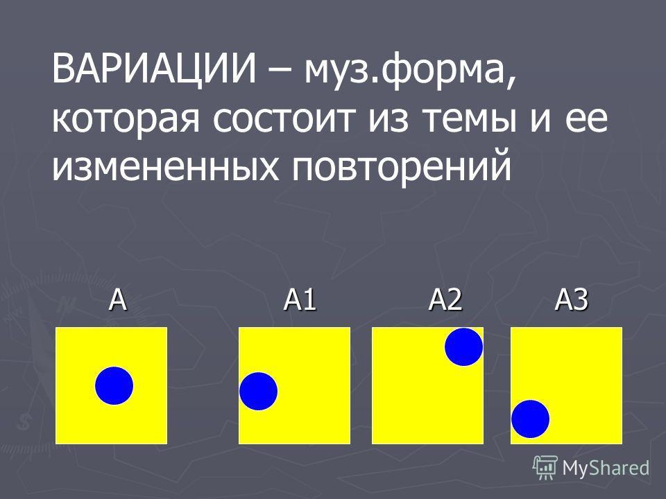 А А1 А2 А3 А А1 А2 А3 ВАРИАЦИИ – муз.форма, которая состоит из темы и ее измененных повторений
