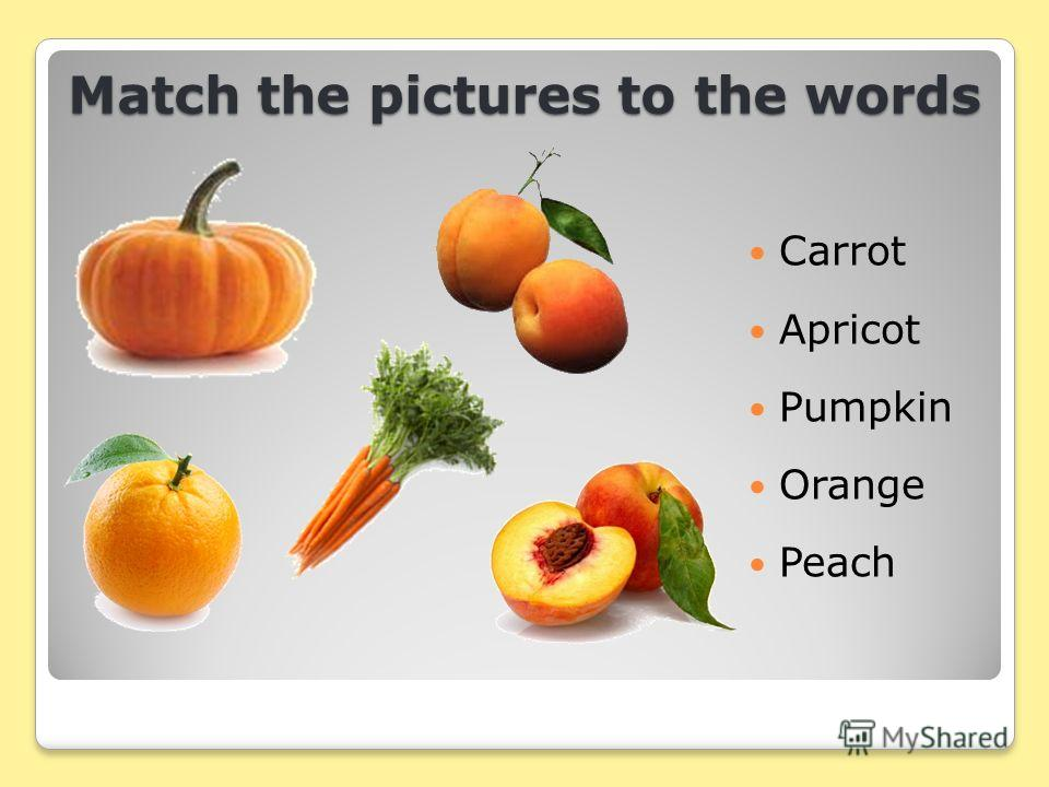 Match the pictures to the words Carrot Apricot Pumpkin Orange Peach