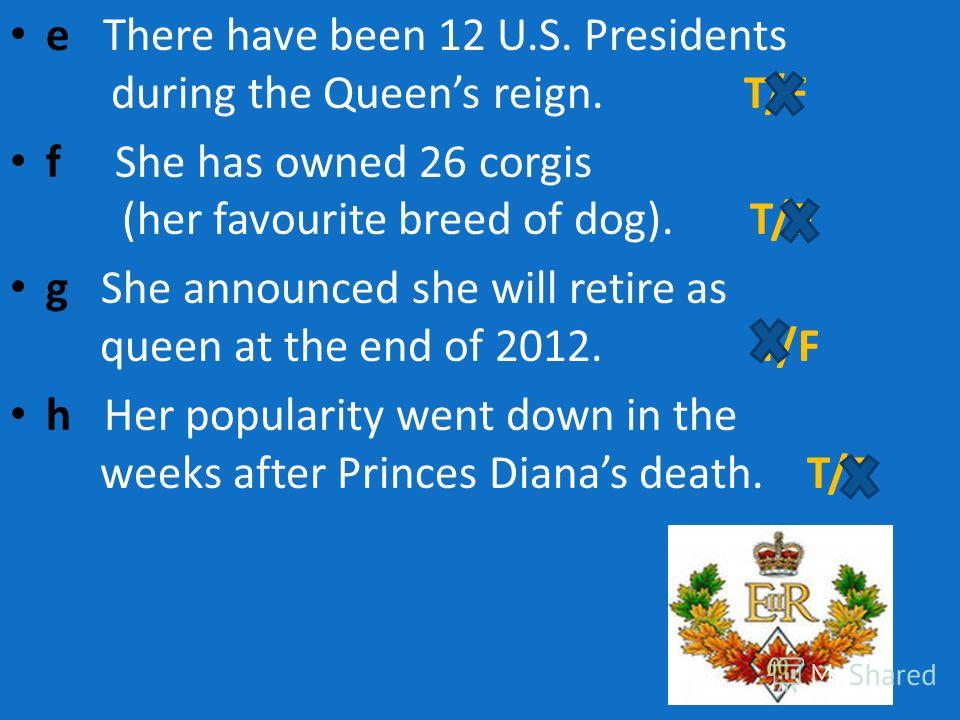 e There have been 12 U.S. Presidents during the Queens reign. T/F f She has owned 26 corgis (her favourite breed of dog). T/F g She announced she will retire as queen at the end of 2012. T/F h Her popularity went down in the weeks after Princes Diana
