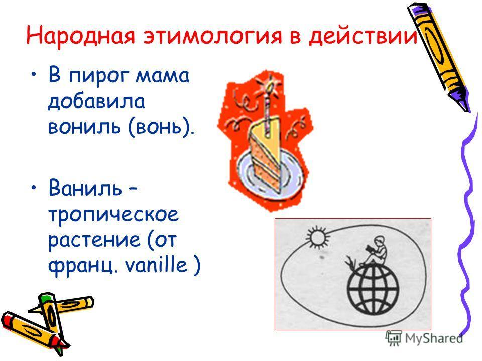 Народная этимология в действии В пирог мама добавила вониль (вонь). Ваниль – тропическое растение (от франц. vanille )