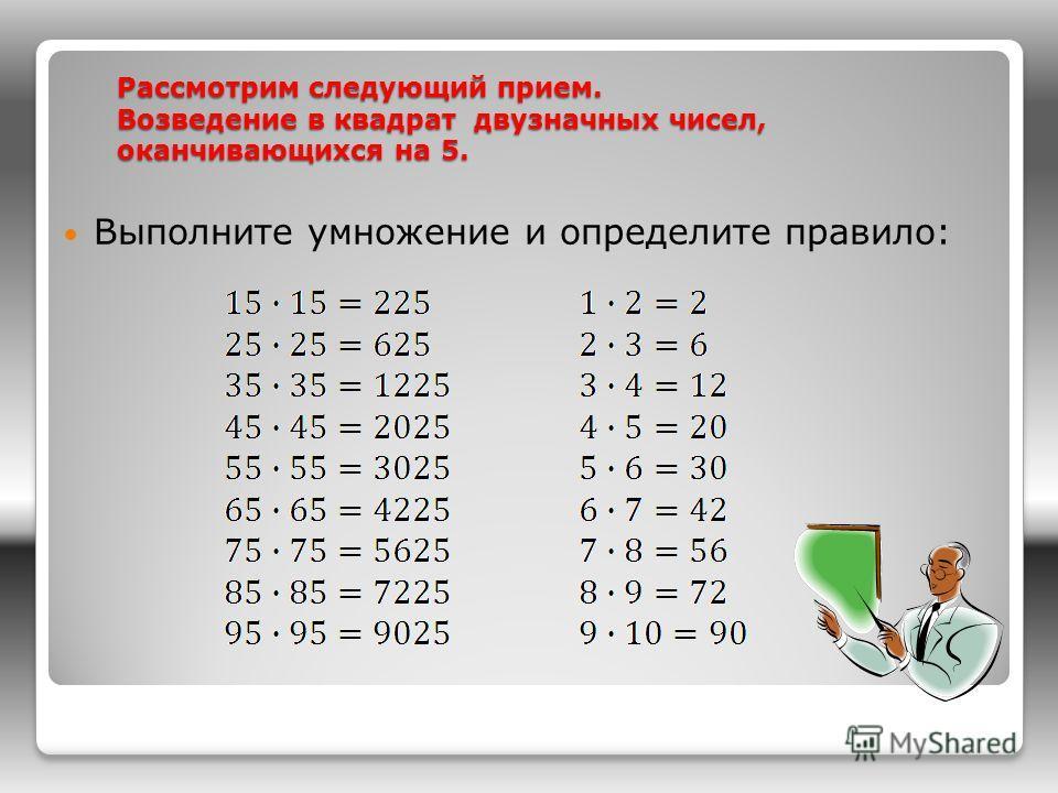 Рассмотрим следующий прием. Возведение в квадрат двузначных чисел, оканчивающихся на 5. Рассмотрим следующий прием. Возведение в квадрат двузначных чисел, оканчивающихся на 5. Выполните умножение и определите правило: