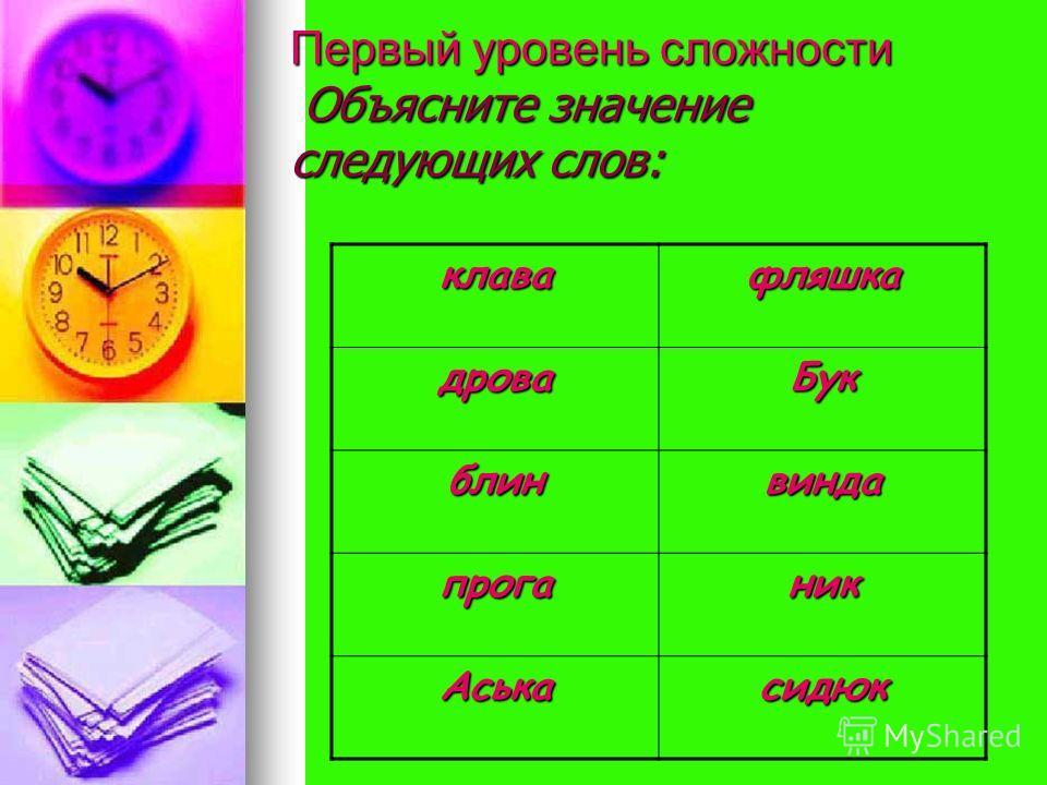 Первый уровень сложности Объясните значение следующих слов: клавафляшка дроваБук блинвинда проганик Аськасидюк