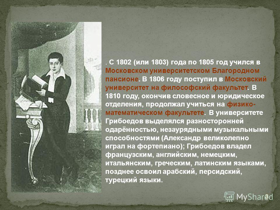 . С 1802 (или 1803) года по 1805 год учился в Московском университетском Благородном пансионе. В 1806 году поступил в Московский университет на философский факультет. В 1810 году, окончив словесное и юридическое отделения, продолжал учиться на физико