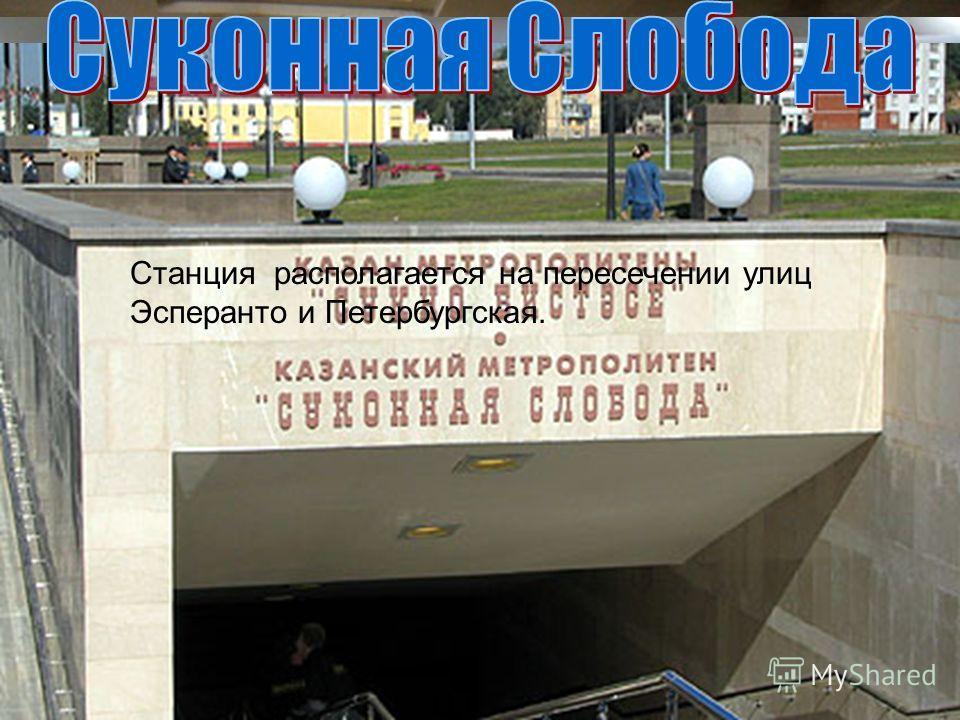 Станция располагается на пересечении улиц Эсперанто и Петербургская.
