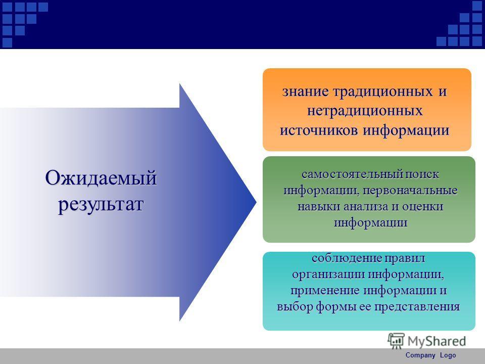 Company Logo Ожидаемый результат знание традиционных и нетрадиционных источников информации самостоятельный поиск информации, первоначальные навыки анализа и оценки информации соблюдение правил организации информации, применение информации и выбор фо