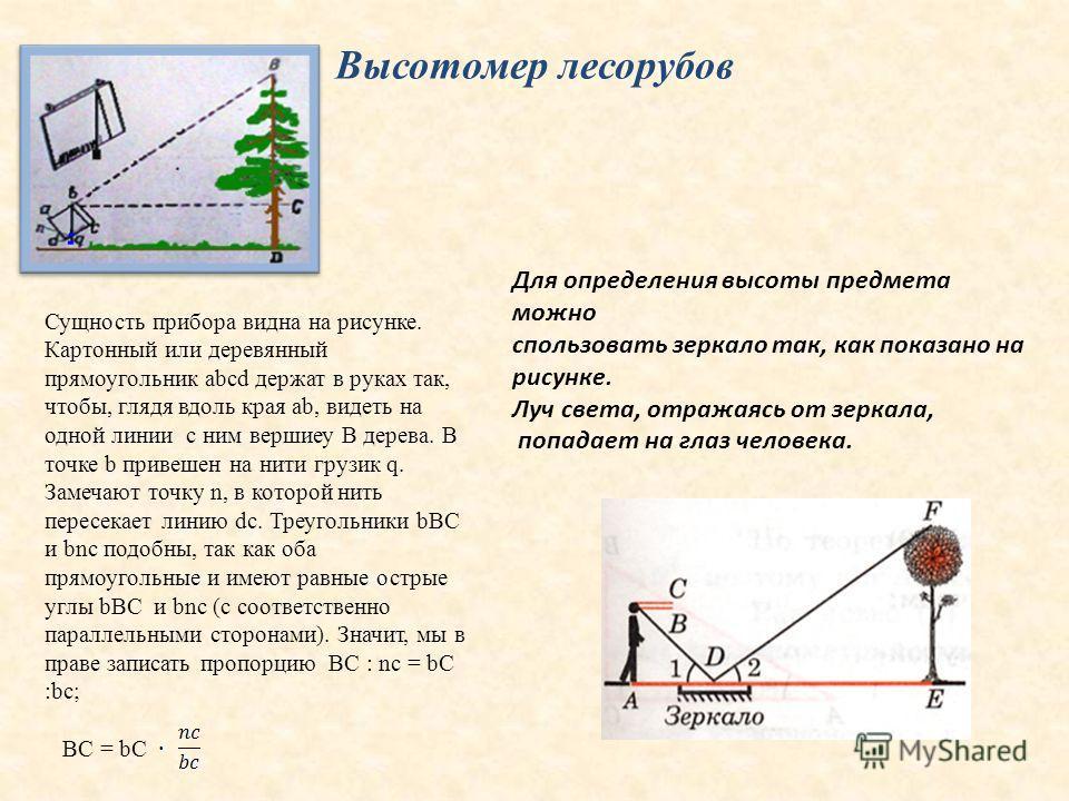 Высотомер лесорубов Сущность прибора видна на рисунке. Картонный или деревянный прямоугольник abcd держат в руках так, чтобы, глядя вдоль края ab, видеть на одной линии с ним вершиеу В дерева. В точке b привешен на нити грузик q. Замечают точку n, в