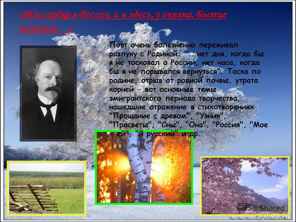«Мое сердце в России, а я здесь, у океана. Бытие неполное…» Поэт очень болезненно переживал разлуку с Родиной: