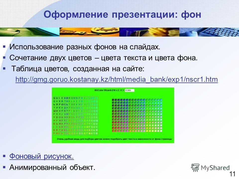 Оформление презентации: фон Использование разных фонов на слайдах. Сочетание двух цветов – цвета текста и цвета фона. Таблица цветов, созданная на сайте: http://gmg.goruo.kostanay.kz/html/media_bank/exp1/nscr1.htm Фоновый рисунок. Фоновый рисунок. Ан