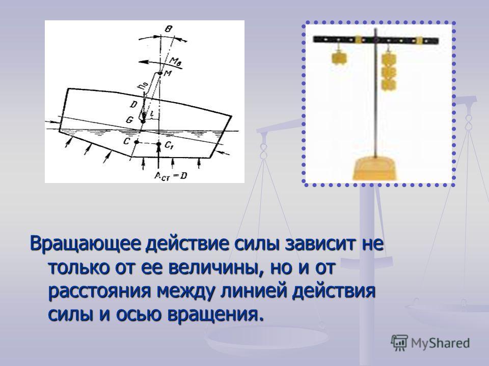 Вращающее действие силы зависит не только от ее величины, но и от расстояния между линией действия силы и осью вращения.