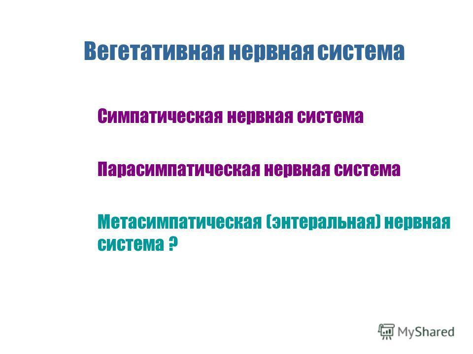Вегетативная нервная система n Симпатическая нервная система n Парасимпатическая нервная система n Метасимпатическая (энтеральная) нервная система ?