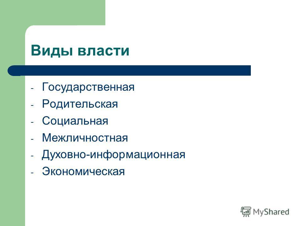 Виды власти - Государственная - Родительская - Социальная - Межличностная - Духовно-информационная - Экономическая