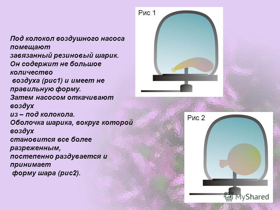 Под колокол воздушного насоса помещают завязанный резиновый шарик. Он содержит не большое количество воздуха (рис1) и имеет не правильную форму. Затем насосом откачивают воздух из – под колокола. Оболочка шарика, вокруг которой воздух становится все