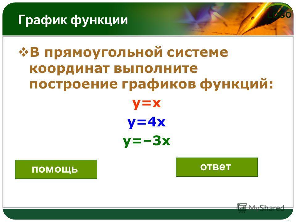 LOGO График функции В прямоугольной системе координат выполните построение графиков функций: y=x y=4x y=–3x помощь ответ
