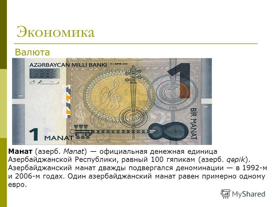 Экономика Манат (азерб. Manat) официальная денежная единица Азербайджанской Республики, равный 100 гяпикам (азерб. q ə pik). Азербайджанский манат дважды подвергался деноминации в 1992-м и 2006-м годах. Один азербайджанский манат равен примерно одном