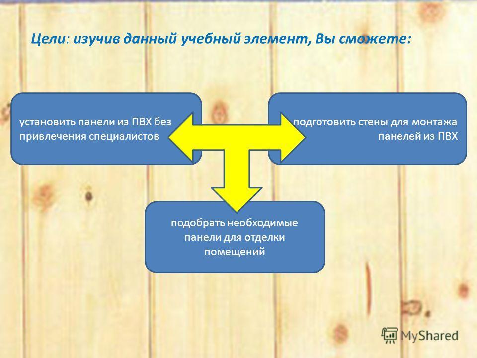 Цели: изучив данный учебный элемент, Вы сможете: установить панели из ПВХ без привлечения специалистов подготовить стены для монтажа панелей из ПВХ подобрать необходимые панели для отделки помещений