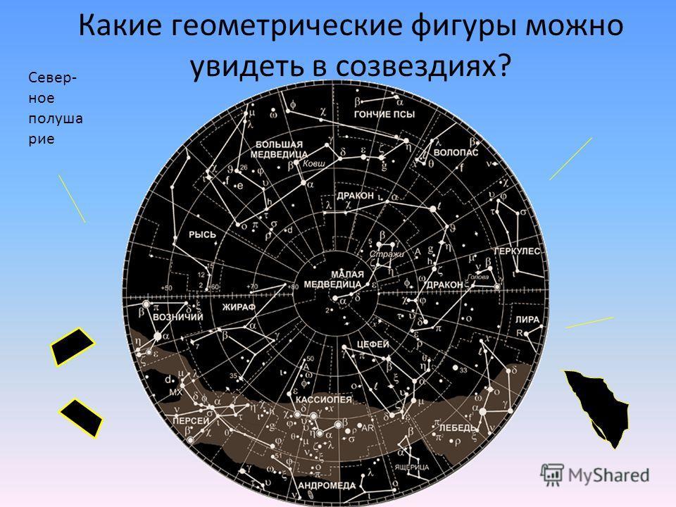 Север- ное полуша рие Какие геометрические фигуры можно увидеть в созвездиях?