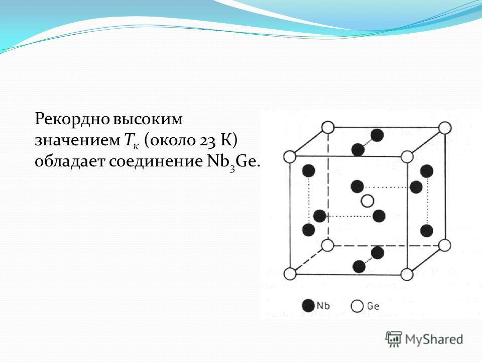 Рекордно высоким значением Т к (около 23 К) обладает соединение Nb 3 Ge.
