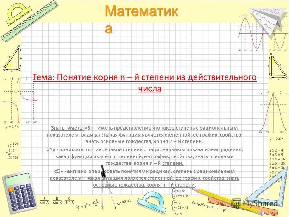 Математик а Тема: Понятие корня n – й степени из действительного числа Знать, уметь: «3» - иметь представление что такое степень с рациональным показателем, радикал; какая функция является степенной, ее график, свойства; знать основные тождества, кор