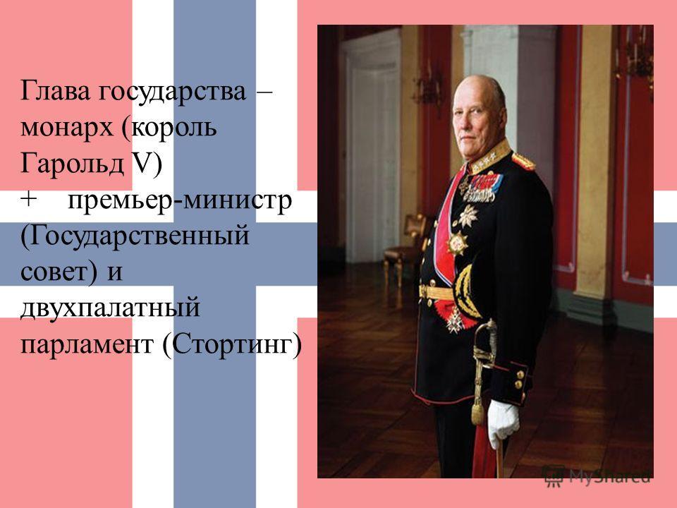 Глава государства – монарх (король Гарольд V) + премьер-министр (Государственный совет) и двухпалатный парламент (Стортинг)