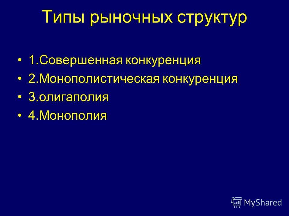 Типы рыночных структур 1.Совершенная конкуренция 2.Монополистическая конкуренция 3.олигаполия 4.Монополия