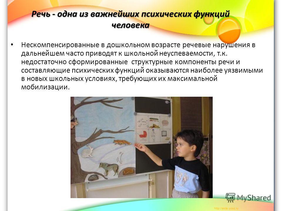 Речь - одна из важнейших психических функций человека Нескомпенсированные в дошкольном возрасте речевые нарушения в дальнейшем часто приводят к школьной неуспеваемости, т.к. недостаточно сформированные структурные компоненты речи и составляющие психи