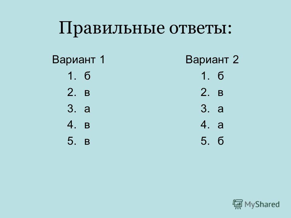 Правильные ответы: Вариант 1 1.б 2.в 3.а 4.в 5.в Вариант 2 1.б 2.в 3.а 4.а 5.б