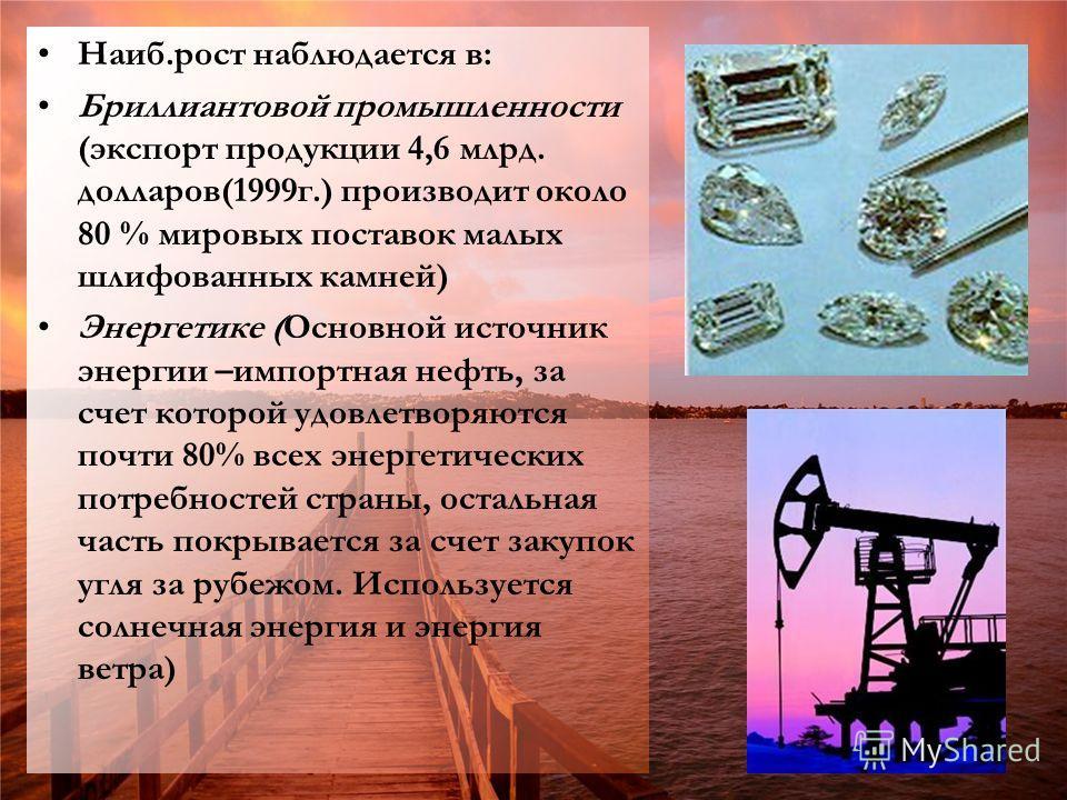 Наиб.рост наблюдается в: Бриллиантовой промышленности (экспорт продукции 4,6 млрд. долларов(1999г.) производит около 80 % мировых поставок малых шлифованных камней) Энергетике (Основной источник энергии –импортная нефть, за счет которой удовлетворяют