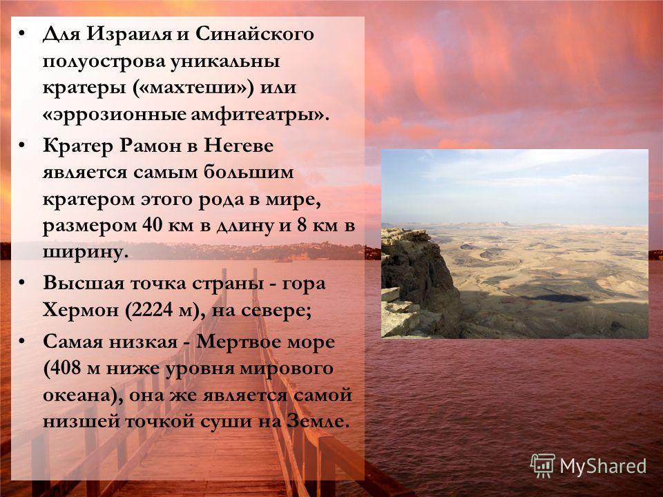 Для Израиля и Синайского полуострова уникальны кратеры («махтеши») или «эррозионные амфитеатры». Кратер Рамон в Негеве является самым большим кратером этого рода в мире, размером 40 км в длину и 8 км в ширину. Высшая точка страны - гора Хермон (2224