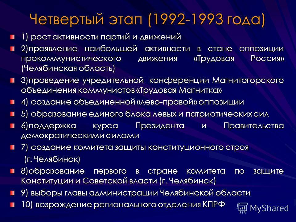 Четвертый этап (1992-1993 года) 1) рост активности партий и движений 2)проявление наибольшей активности в стане оппозиции прокоммунистического движения «Трудовая Россия» (Челябинская область) 3)проведение учредительной конференции Магнитогорского объ