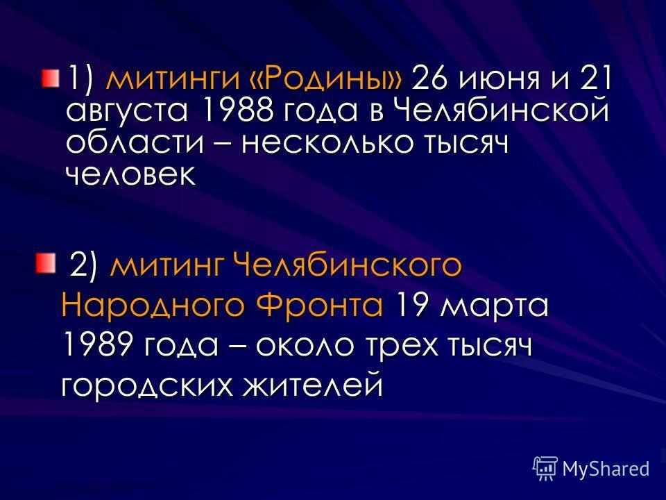 1) митинги «Родины» 26 июня и 21 августа 1988 года в Челябинской области – несколько тысяч человек 2) митинг Челябинского Народного Фронта 19 марта 1989 года – около трех тысяч городских жителей 2) митинг Челябинского Народного Фронта 19 марта 1989 г