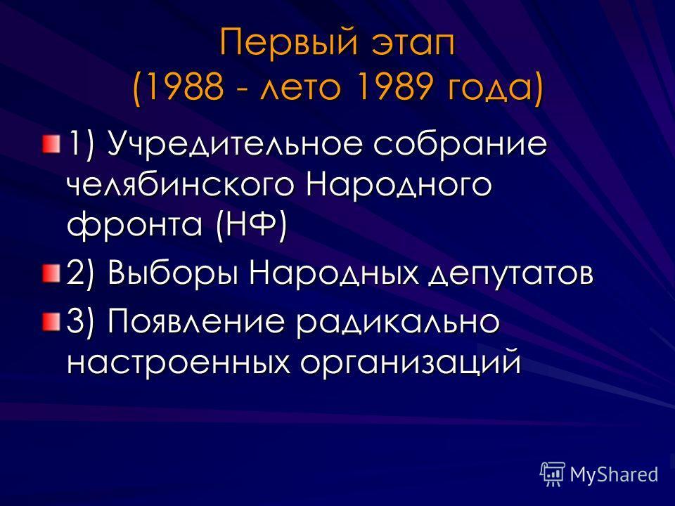 Первый этап (1988 - лето 1989 года) 1) Учредительное собрание челябинского Народного фронта (НФ) 2) Выборы Народных депутатов 3) Появление радикально настроенных организаций