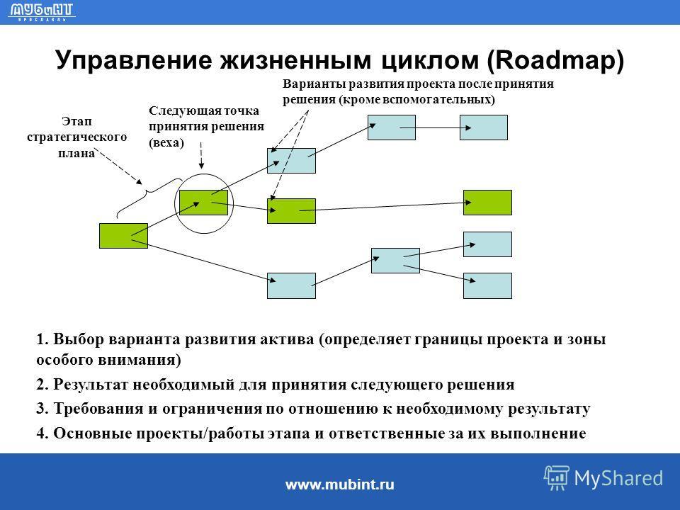 www.mubint.ru Управление жизненным циклом (Roadmap) Варианты развития проекта после принятия решения (кроме вспомогательных) Следующая точка принятия решения (веха) Этап стратегического плана 1. Выбор варианта развития актива (определяет границы прое