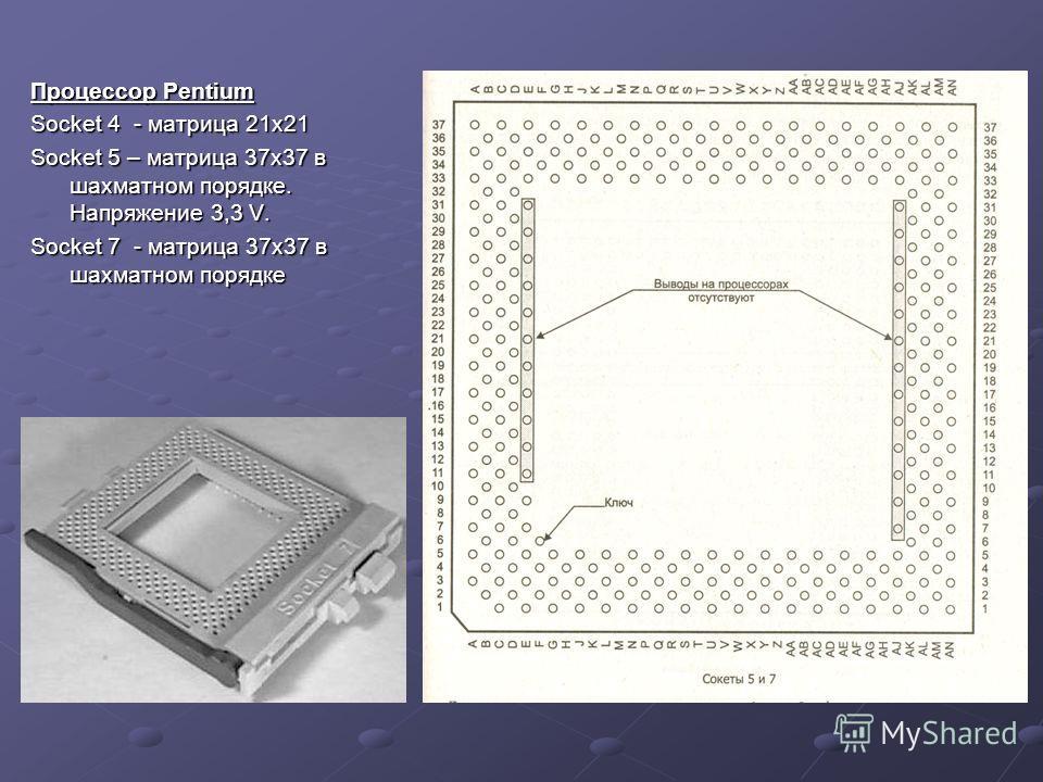Процессор Pentium Socket 4 - матрица 21х21 Socket 5 – матрица 37х37 в шахматном порядке. Напряжение 3,3 V. Socket 7 - матрица 37x37 в шахматном порядке