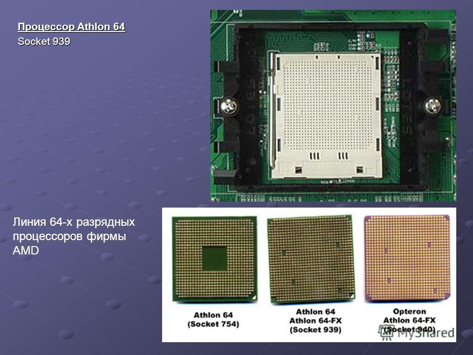 Процессор Athlon 64 Socket 939 Линия 64-x разрядных процессоров фирмы AMD