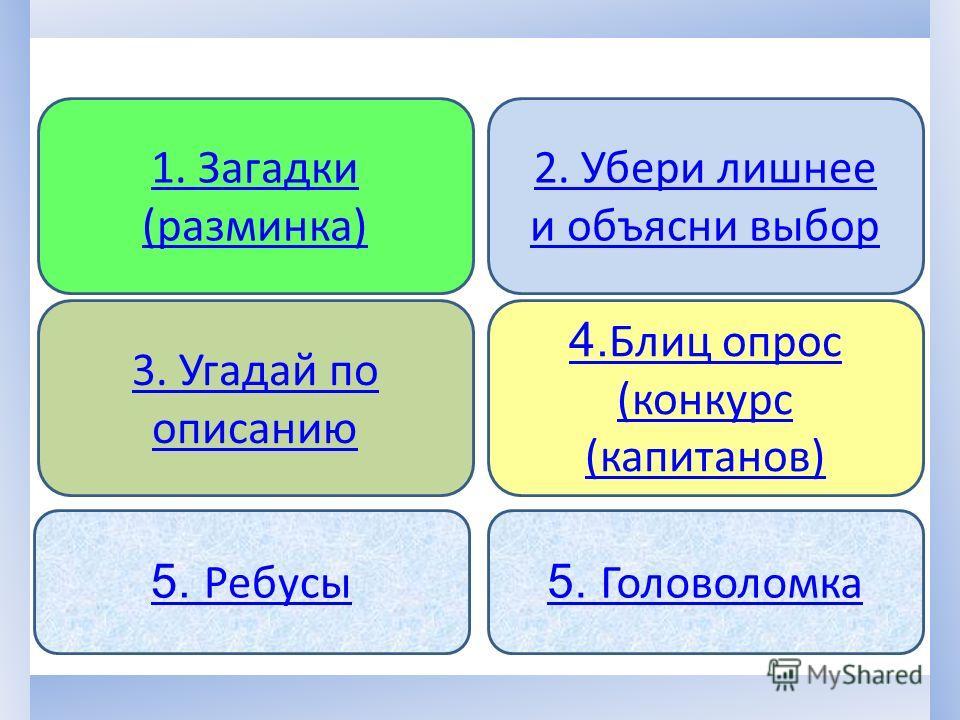 3. Угадай по описанию 4. Блиц опрос (конкурс (капитанов) 1. Загадки (разминка) 2. Убери лишнее и объясни выбор 5. Ребусы 5. Головоломка