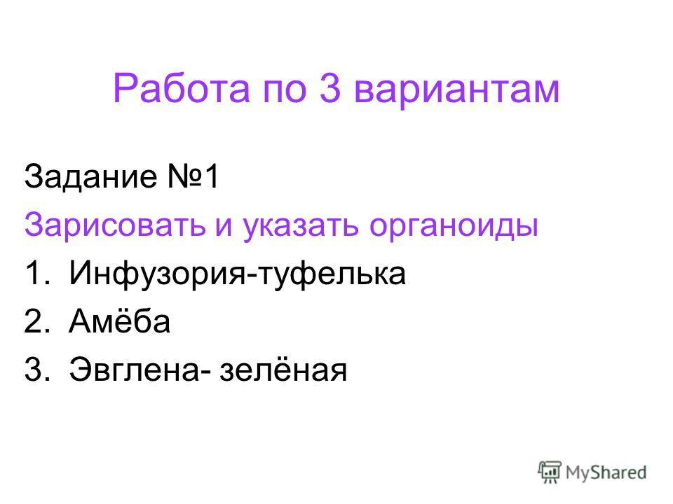 Работа по 3 вариантам Задание 1 Зарисовать и указать органоиды 1.Инфузория-туфелька 2.Амёба 3.Эвглена- зелёная