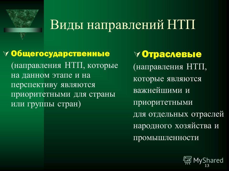 13 Виды направлений НТП Общегосударственные (направления НТП, которые на данном этапе и на перспективу являются приоритетными для страны или группы стран) Отраслевые (направления НТП, которые являются важнейшими и приоритетными для отдельных отраслей