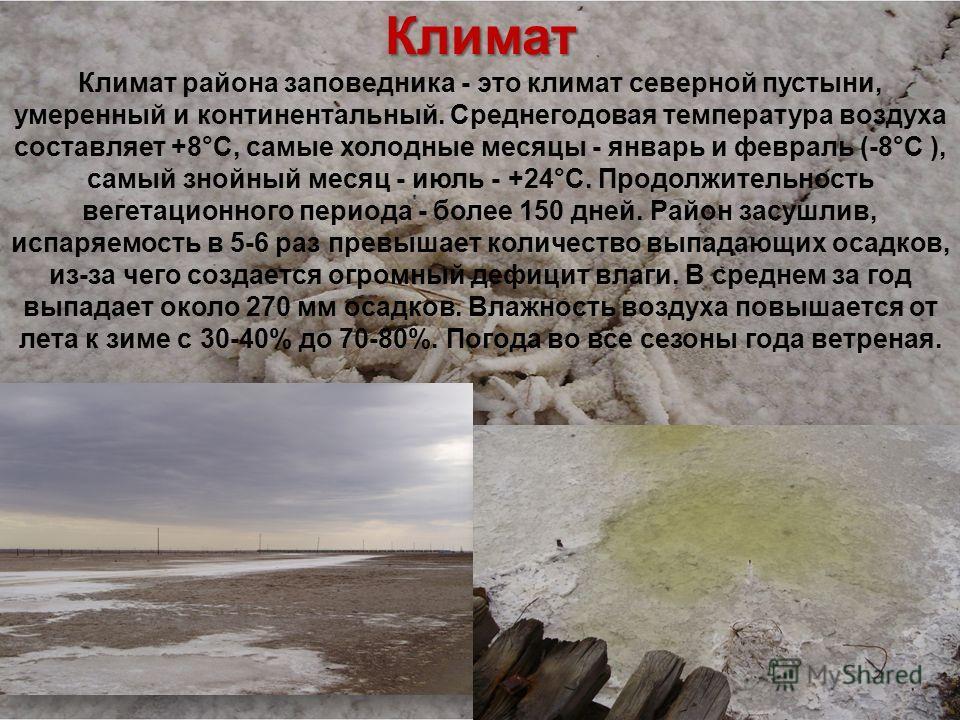 Климат Климат Климат района заповедника - это климат северной пустыни, умеренный и континентальный. Среднегодовая температура воздуха составляет +8°С, самые холодные месяцы - январь и февраль (-8°С ), самый знойный месяц - июль - +24°С. Продолжительн