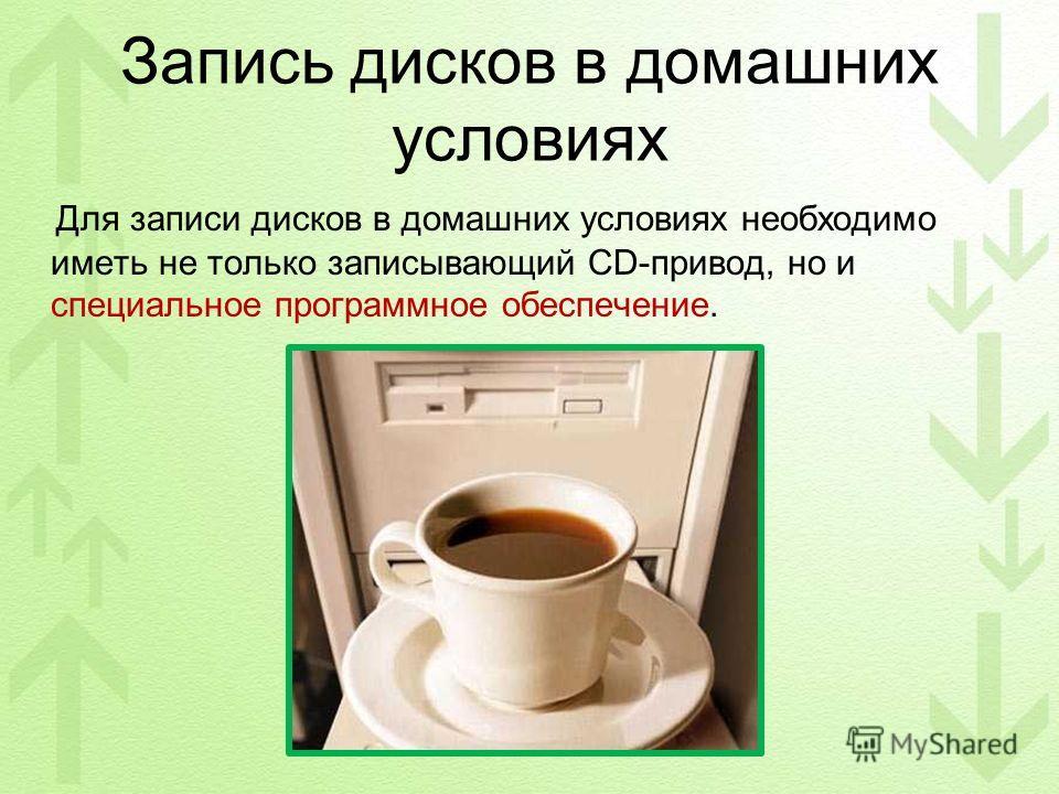 Запись дисков в домашних условиях Для записи дисков в домашних условиях необходимо иметь не только записывающий CD-привод, но и специальное программное обеспечение.