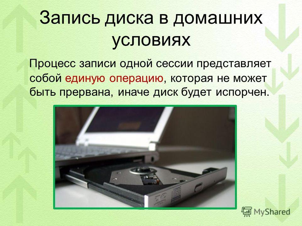 Запись диска в домашних условиях Процесс записи одной сессии представляет собой единую операцию, которая не может быть прервана, иначе диск будет испорчен.