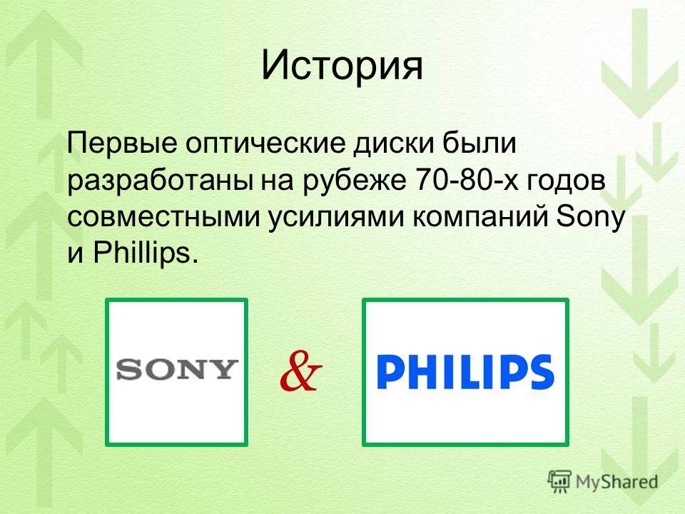 История Первые оптические диски были разработаны на рубеже 70-80-х годов совместными усилиями компаний Sony и Phillips. &