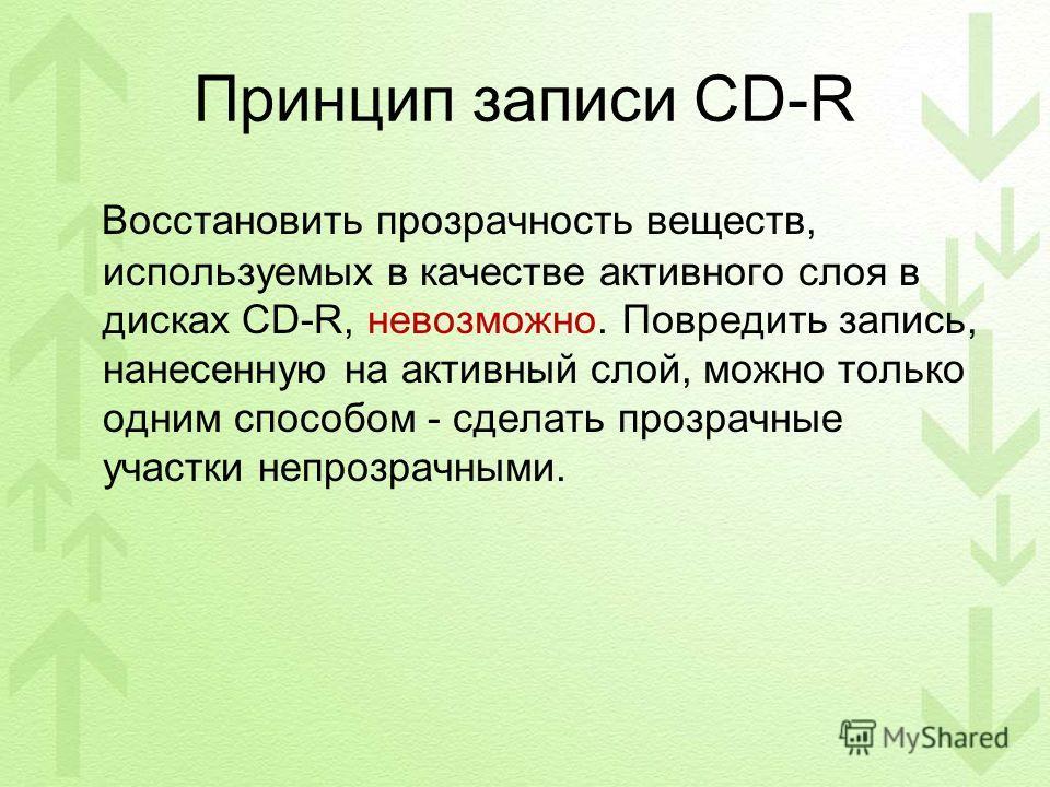 Принцип записи CD-R Восстановить прозрачность веществ, используемых в качестве активного слоя в дисках CD-R, невозможно. Повредить запись, нанесенную на активный слой, можно только одним способом - сделать прозрачные участки непрозрачными.