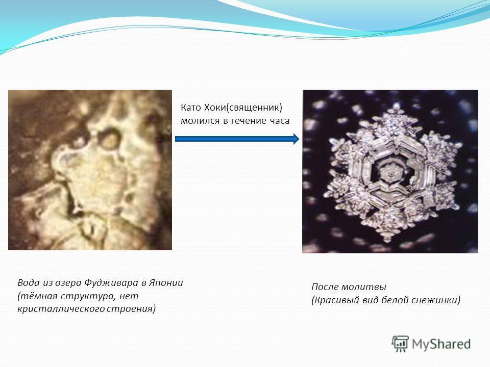 После молитвы (Красивый вид белой снежинки) Вода из озера Фудживара в Японии (тёмная структура, нет кристаллического строения) Като Хоки(священник) молился в течение часа