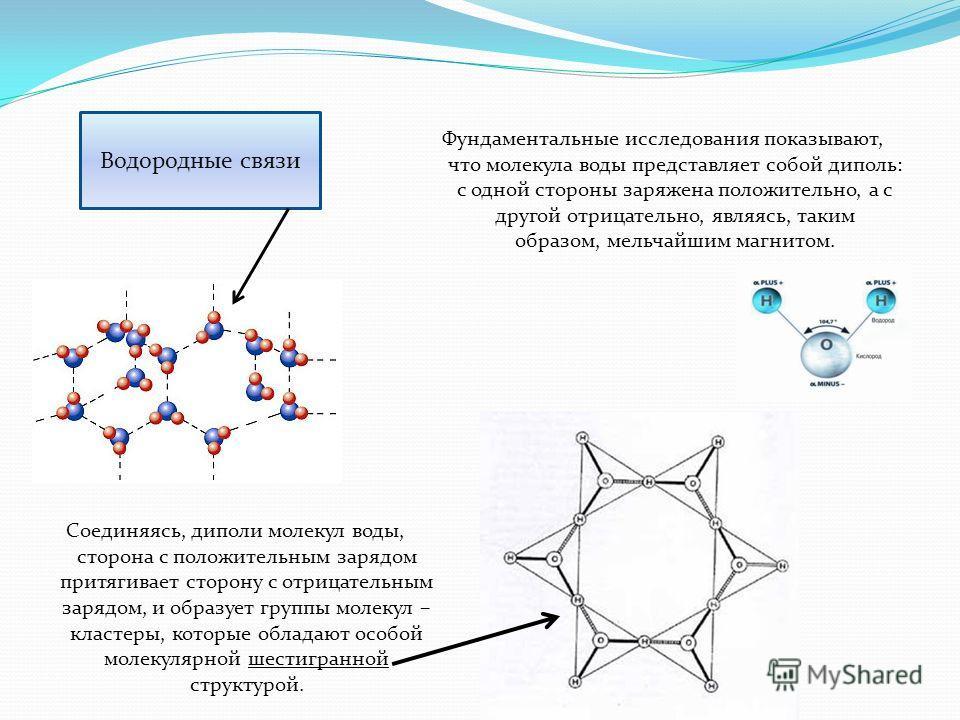 Фундаментальные исследования показывают, что молекула воды представляет собой диполь: с одной стороны заряжена положительно, а с другой отрицательно, являясь, таким образом, мельчайшим магнитом. Водородные связи Соединяясь, диполи молекул воды, сторо