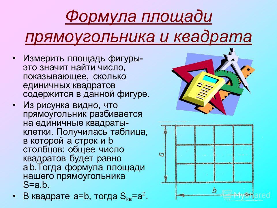Формула площади прямоугольника и квадрата Измерить площадь фигуры- это значит найти число, показывающее, сколько единичных квадратов содержится в данной фигуре. Из рисунка видно, что прямоугольник разбивается на единичные квадраты- клетки. Получилась